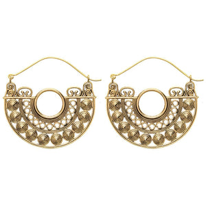 Load image into Gallery viewer, Gold Brass Filigree Disc Hoop Earrings