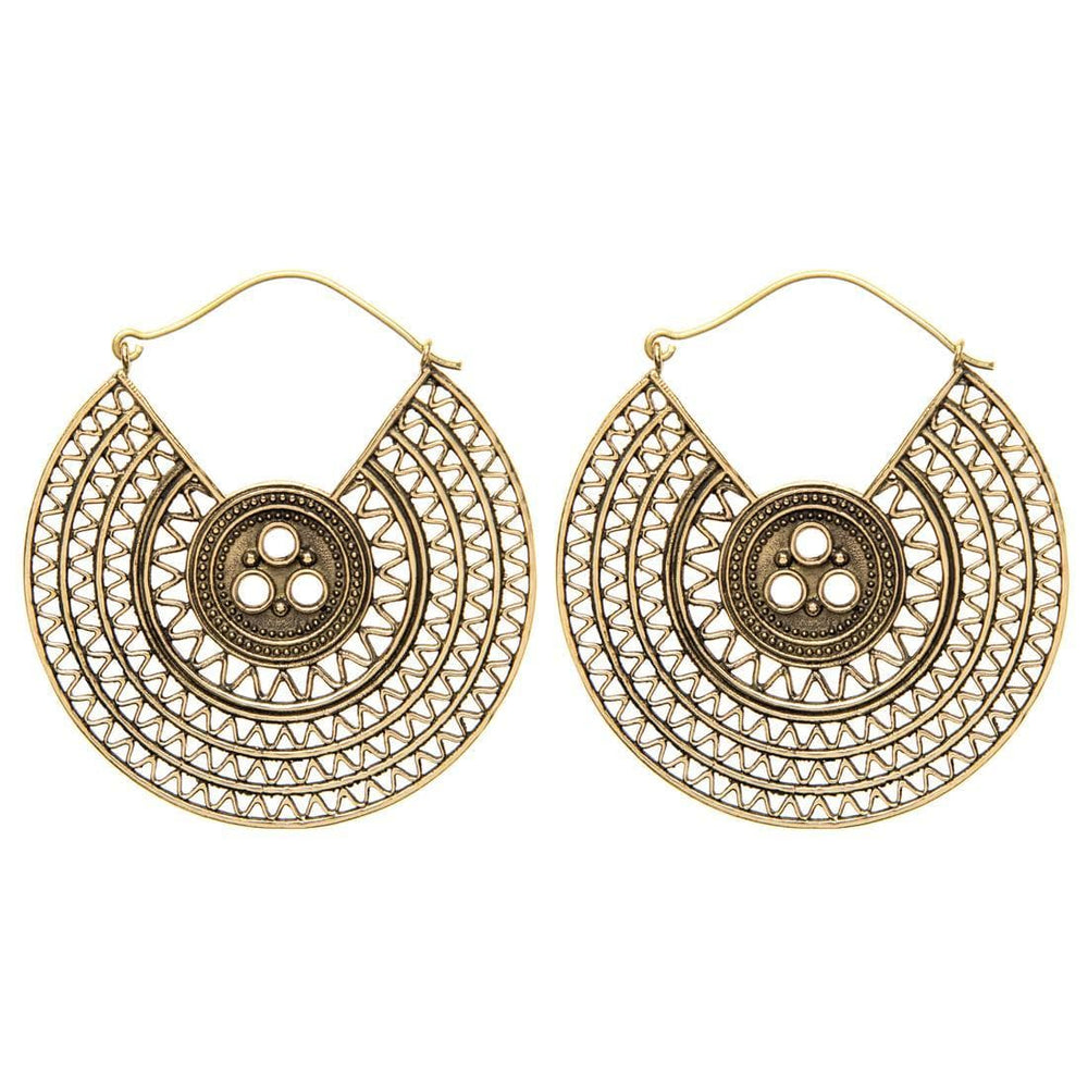 Gold Brass Disc Creole Ethnic Earrings