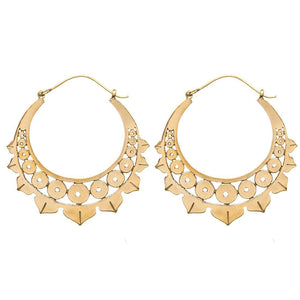 Gold Brass Lotus Leaf Hoop Earrings