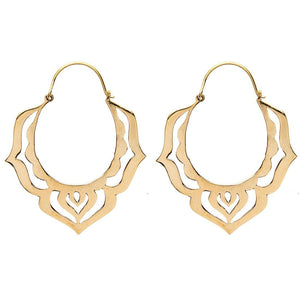 Load image into Gallery viewer, Gold Brass Lotus Flower Tribal Earrings