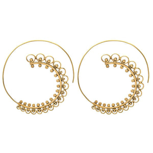 Gold Brass Indian Round Spiral Ethnic Earrings