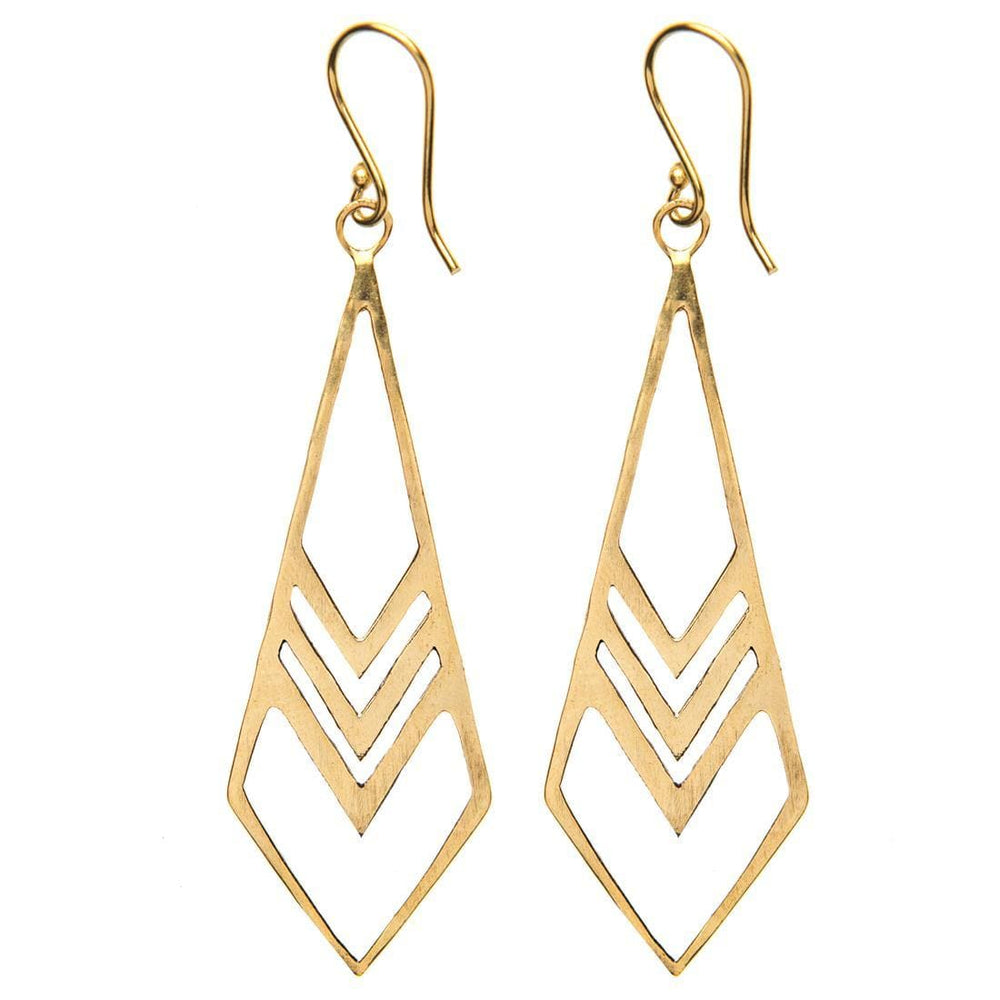 Gold Brass Long Geometric Dangle Earrings