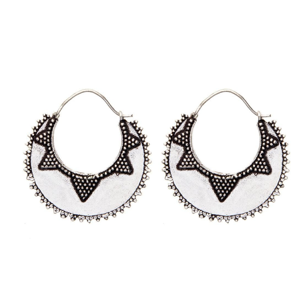 Silver Brass Creole Dotwork Ethnic Earrings