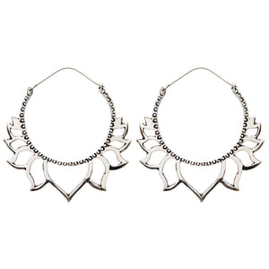 Silver Brass Large Lotus Flower Ethnic Earrings