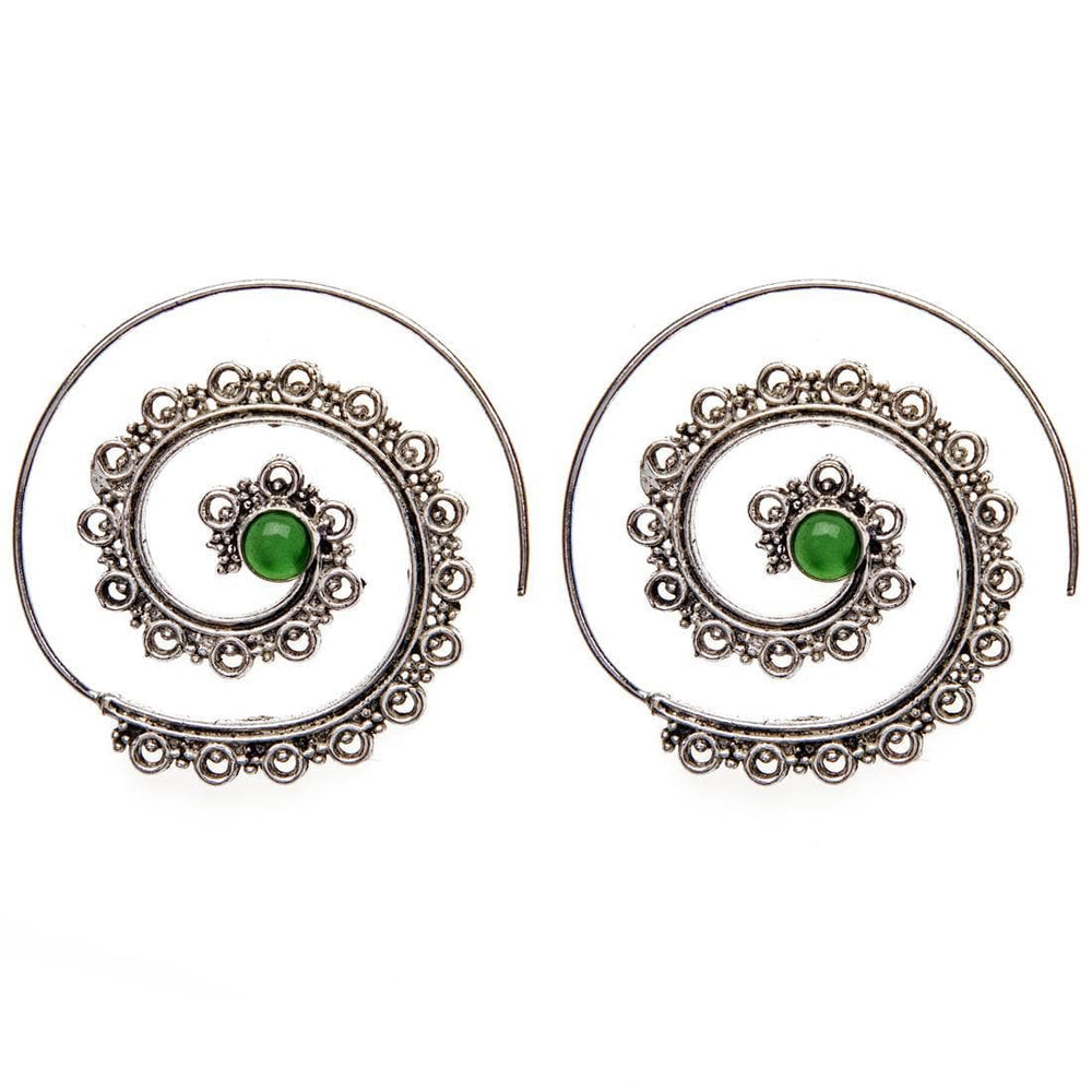 Load image into Gallery viewer, Silver Brass Spiral Emerald Tribal Earrings