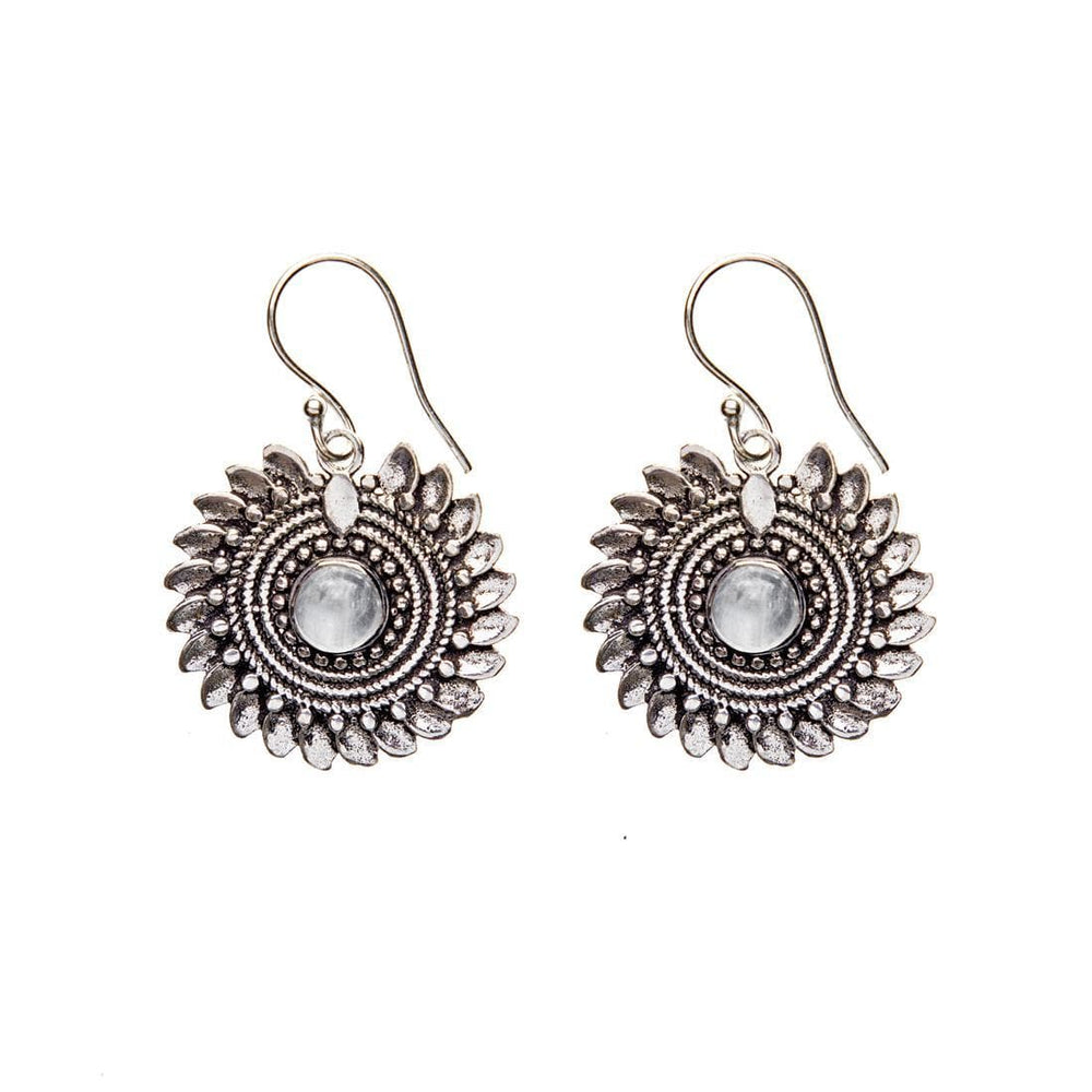 Load image into Gallery viewer, Silver Brass Flower Moonstone Tribal Earrings