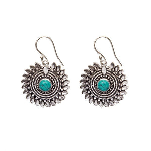 Silver Brass Flower Gemstone Tribal Earrings