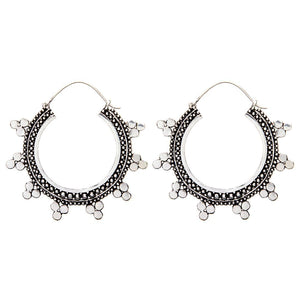 Load image into Gallery viewer, Silver Brass Round Indian Dotwork Tribal Earrings