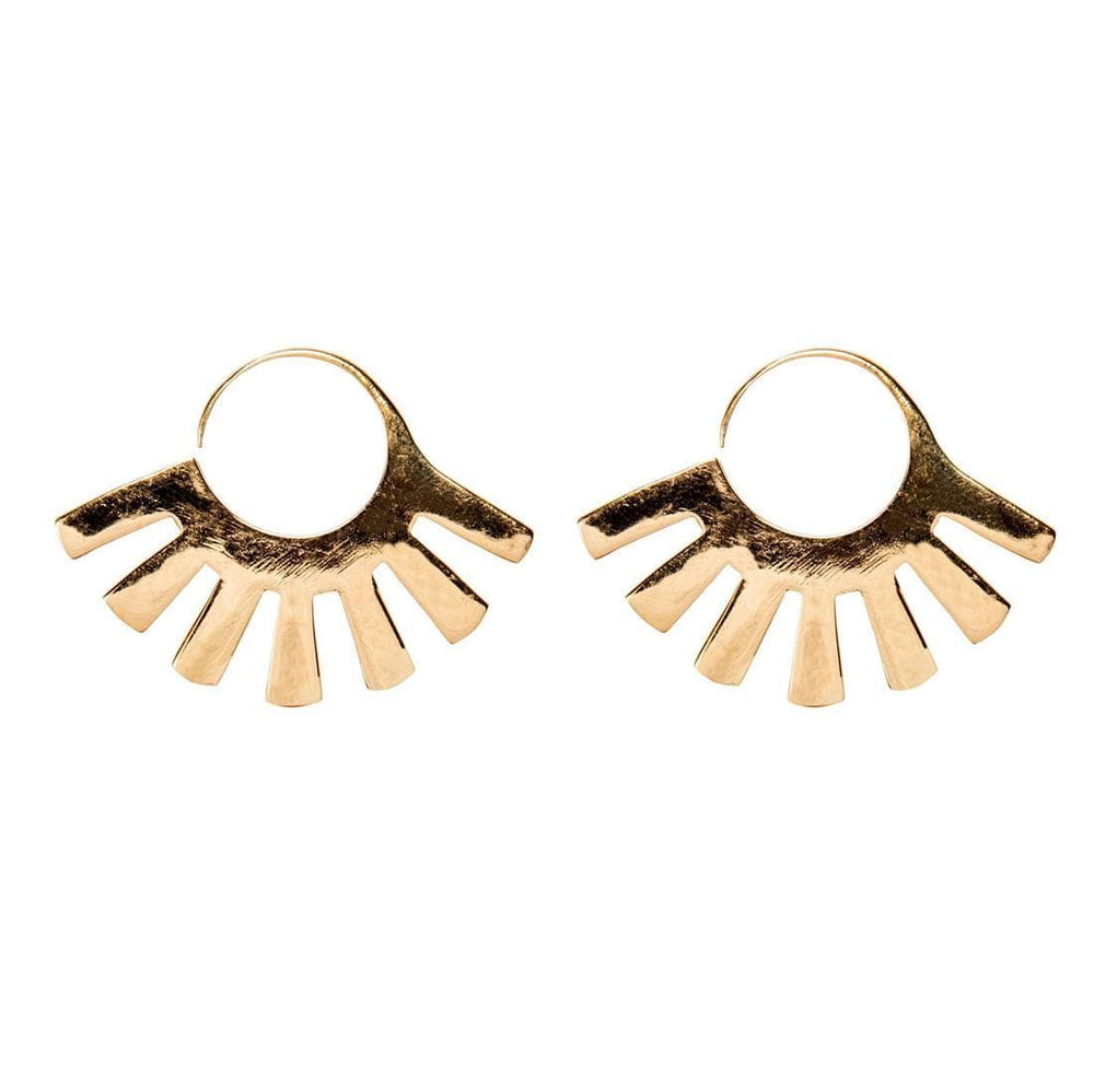 Load image into Gallery viewer, Gold Brass Egyptian Style Fan Shaped Earrings
