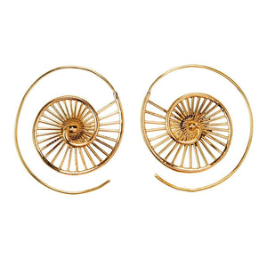 Load image into Gallery viewer, Gold Brass Tribal Seashell Spiral Threader Earrings