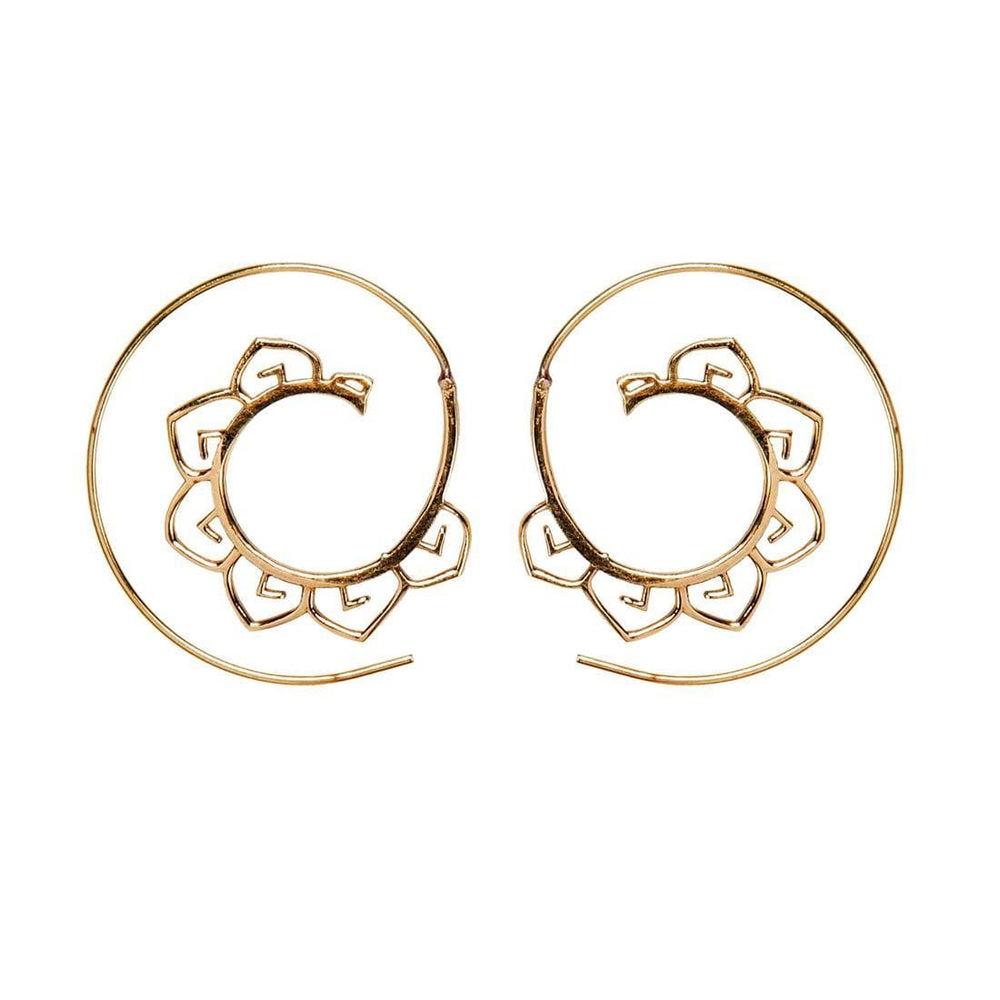 Load image into Gallery viewer, Gold Brass Lotus Flower Spiral Threader Earrings