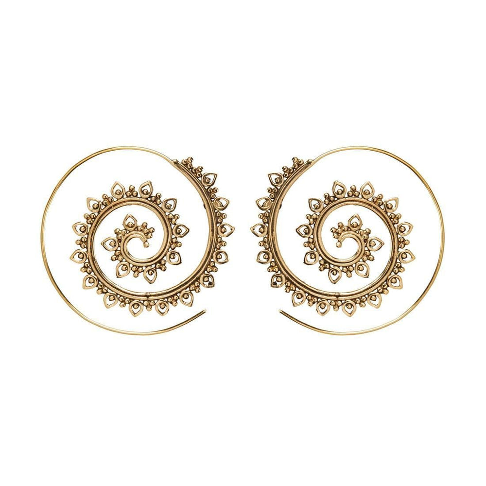 Gold Brass Intricate Tribal Dotwork Spiral Threader Earrings