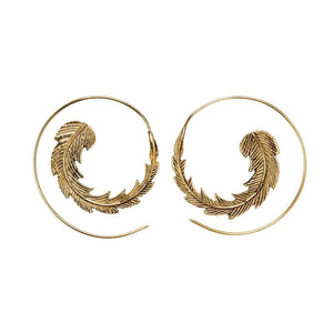 Load image into Gallery viewer, Gold Brass Textured Leaf Spiral Threader Earrings