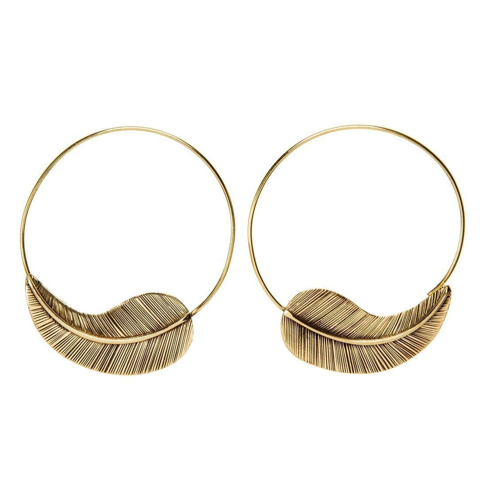 Load image into Gallery viewer, Gold Brass Textured Leaf Hoop Threader Earrings