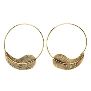 Gold Brass Textured Leaf Hoop Threader Earrings