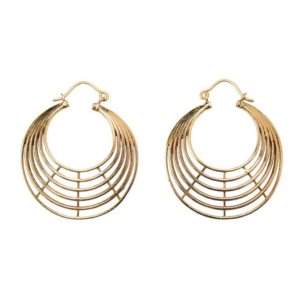 Load image into Gallery viewer, Gold Brass Layered Creole Hoop Earrings