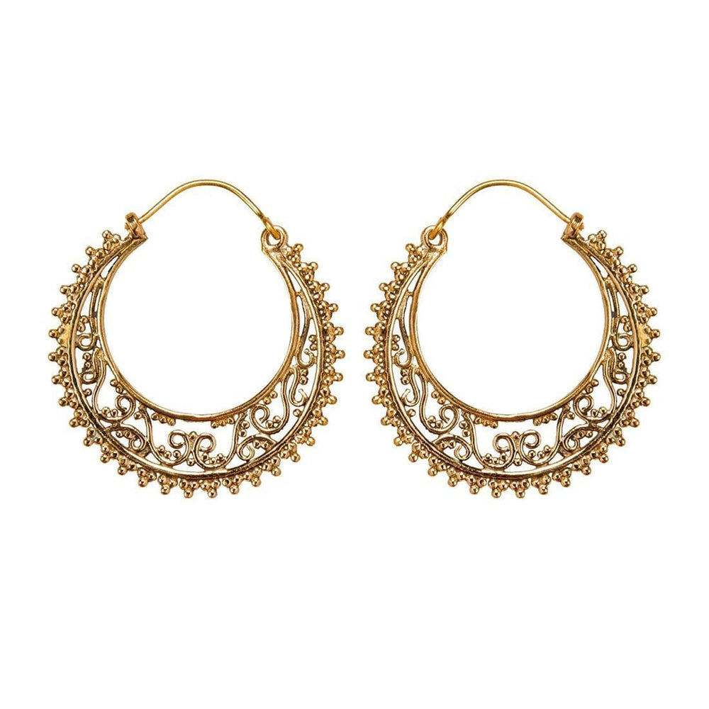 Gold Brass Ethnic Filigree Dotwork Hoop Earrings