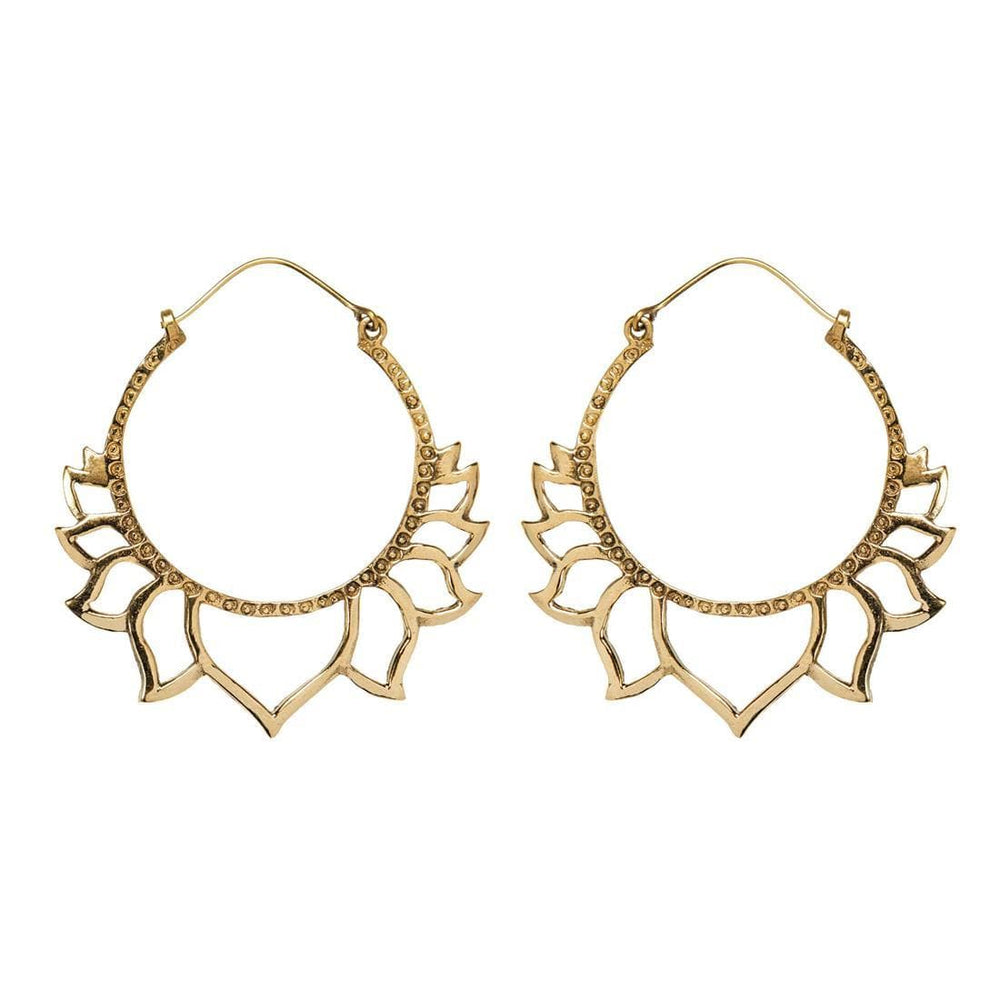Gold Brass Ethnic Cut Out Lotus Hoop Earrings