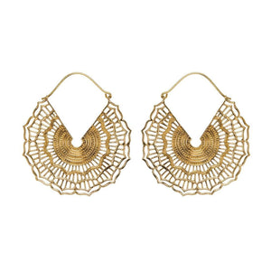 Gold Brass Ethnic Mandala Dotwork Hoop Earrings