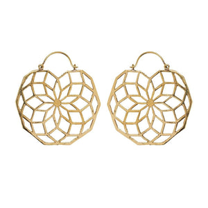 Gold Brass Flower of Life Mandala Earrings