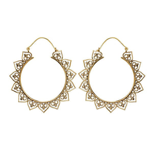 Gold Brass Mandala Filigree Dotwork Hoop Earrings