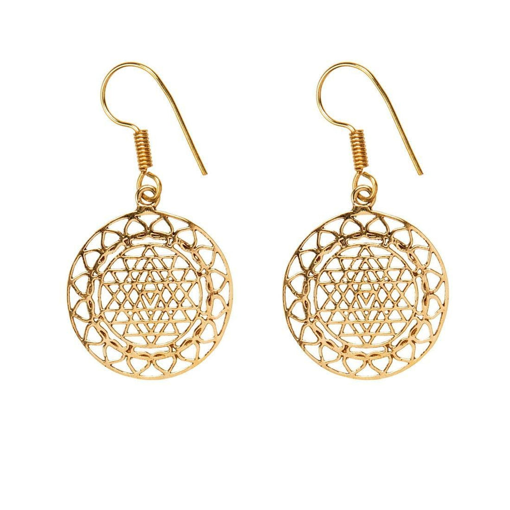 Gold Brass Round Intricate Sri Yantra Dangle Earrings
