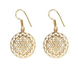 Load image into Gallery viewer, Gold Brass Round Intricate Sri Yantra Dangle Earrings