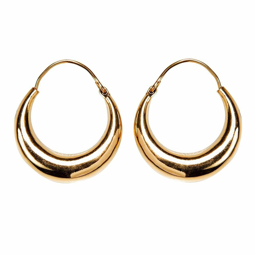Gold Brass Round Tube Creole Hoop Earrings