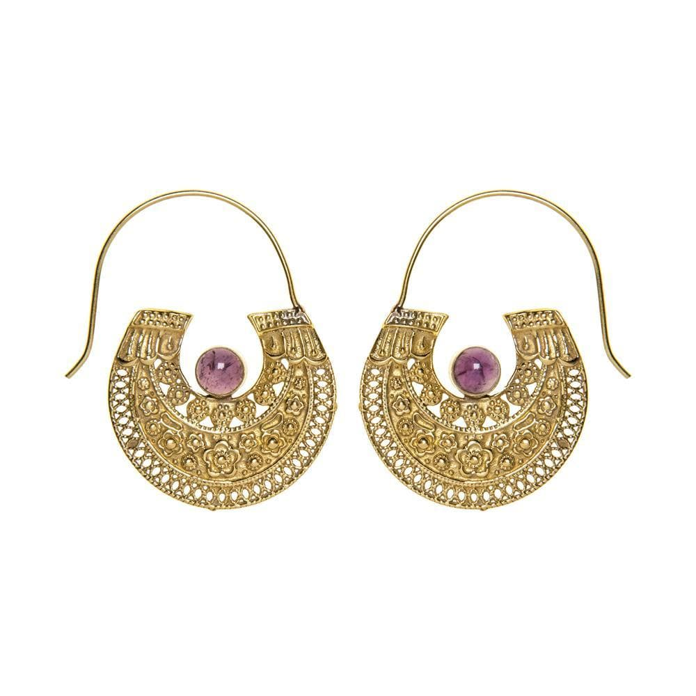 Load image into Gallery viewer, Gold Brass Antique Inspired Tribal Amethyst Gemstone Earrings