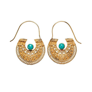 Gold Brass Antique Inspired Tribal Turquoise Gemstone Earrings