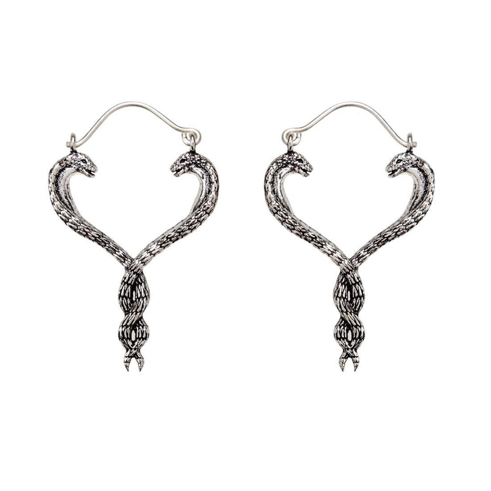 Load image into Gallery viewer, Silver Brass Intertwined Snake Caduceus Earrings