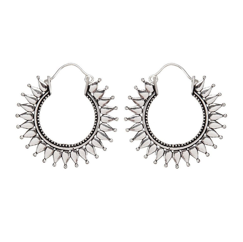 Silver Brass Mandala Sun Shaped Hoop Earrings