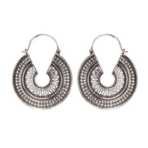 Silver Brass C-Shape Mandala Dotwork Hoop Earrings