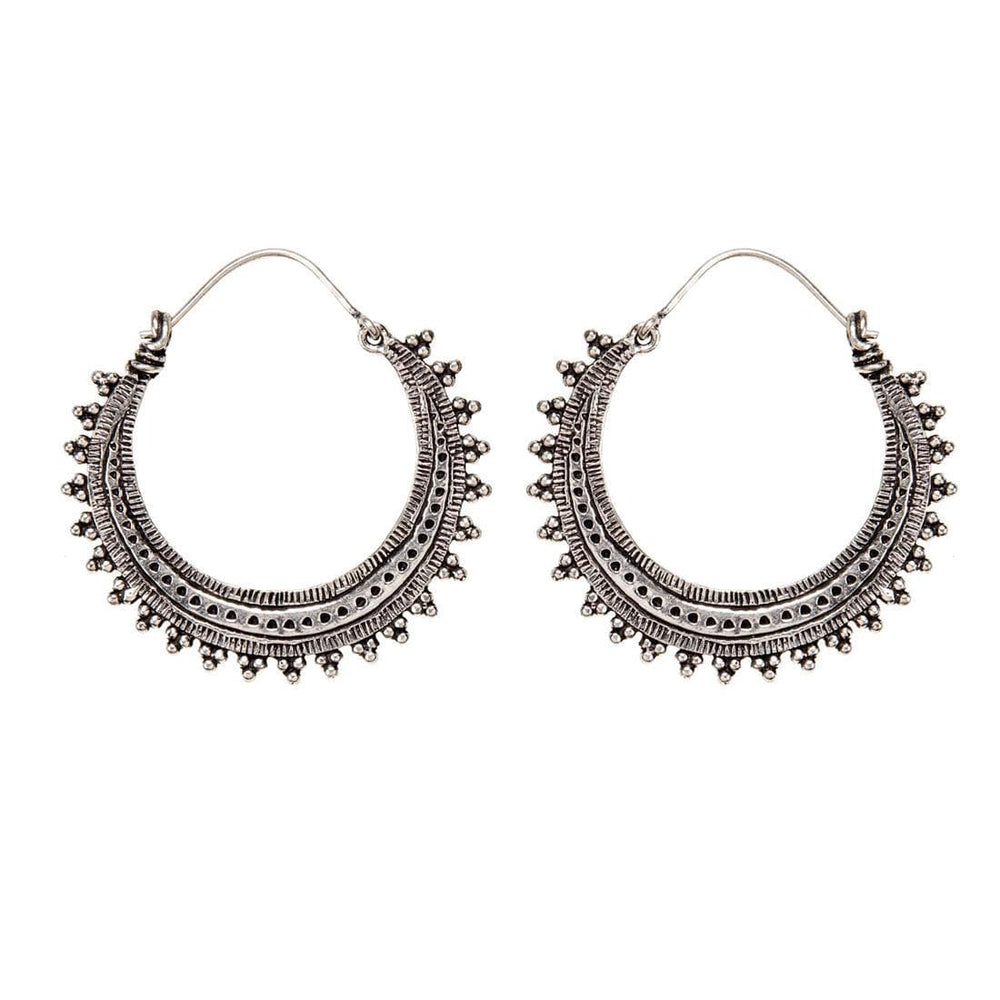 Silver Brass Intricate Creole Dotwork Hoop Earrings