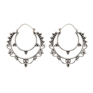 Silver Brass Adorned Half Moon Dotwork Hoop Earrings