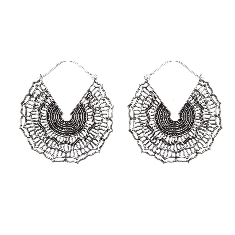 Silver Brass Webbed Disc Mandala Hoop Earrings