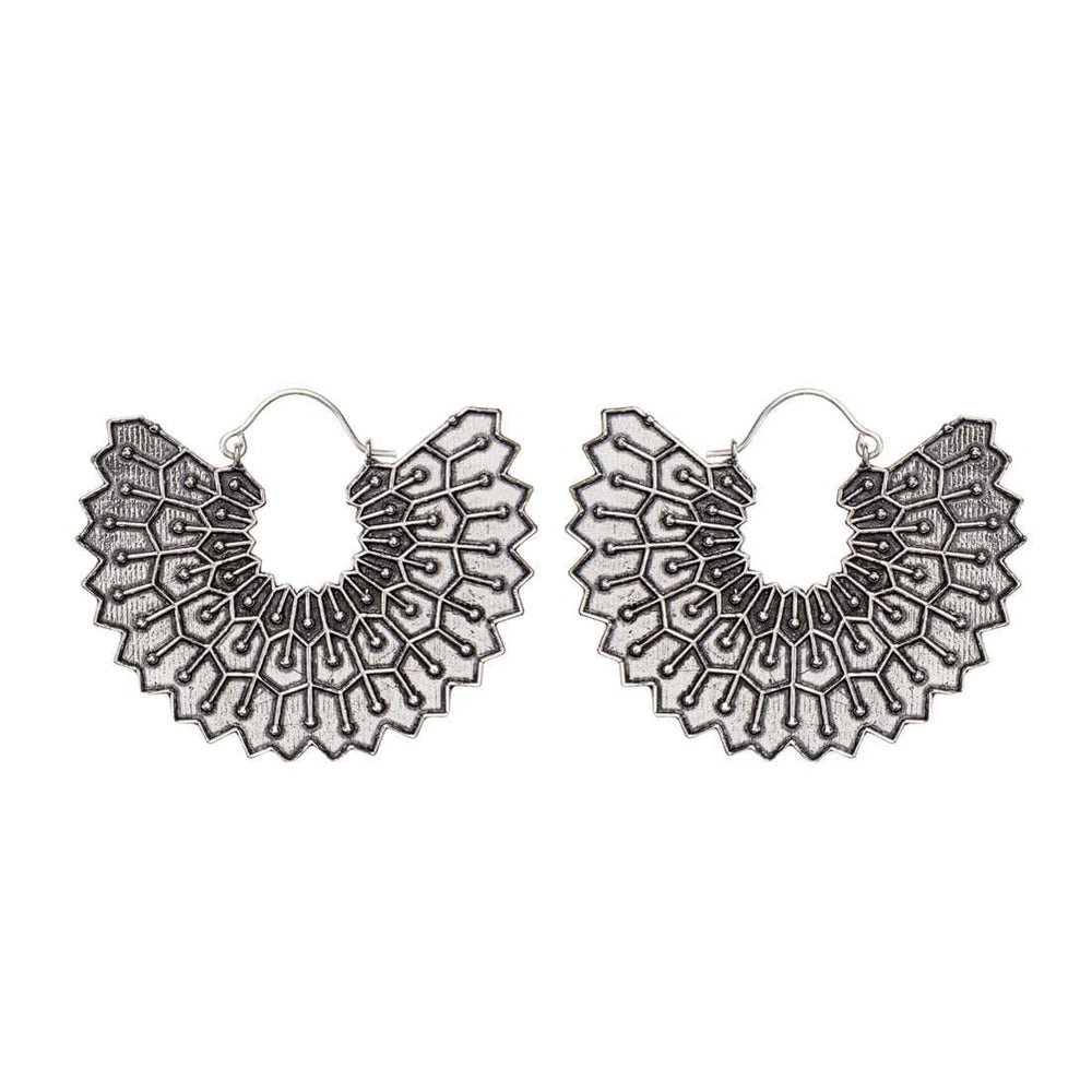 Silver Brass Egyptian Style Open Fan Disc Earrings