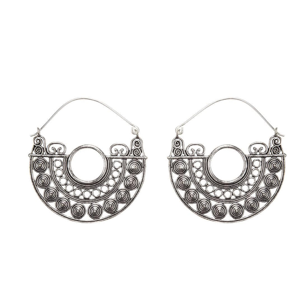 Silver Brass Elaborate Half Circle Disc Earrings