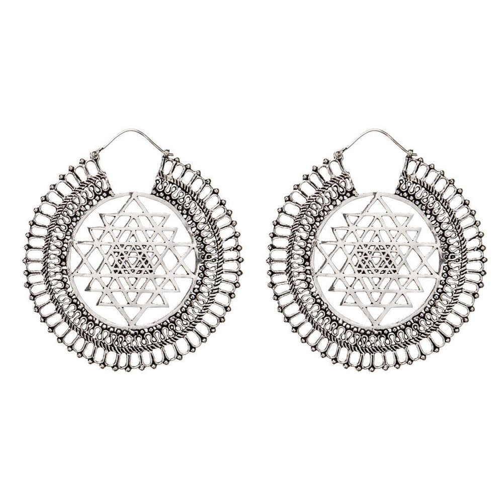 Silver Brass Bold Sri Yantra Disc Dotwork Earrings
