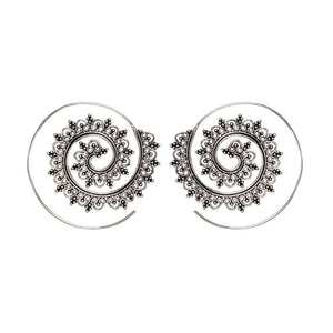 Load image into Gallery viewer, Silver Brass Ethnic Dotwork Spiral Threader Earrings