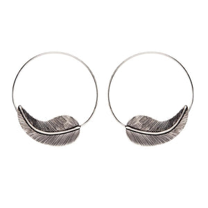Load image into Gallery viewer, Silver Brass Lined Leaf Hoop Threader Earrings