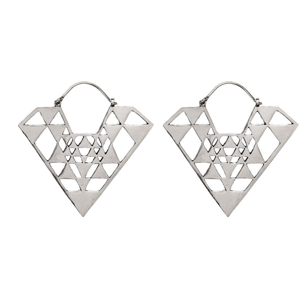 Load image into Gallery viewer, Silver Brass Geometric Pyramid Dangle Earrings