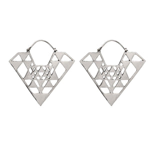 Silver Brass Geometric Pyramid Dangle Earrings