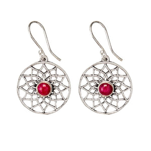 Load image into Gallery viewer, Silver Brass Flower of Life Ruby Gemstone Dangle Earrings