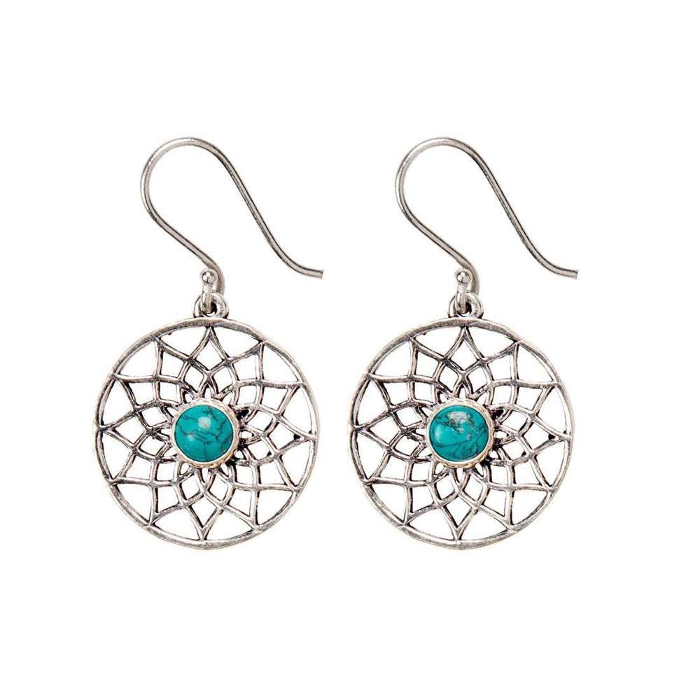 Silver Brass Flower of Life Turquoise Gemstone Dangle Earrings