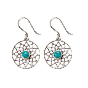 Load image into Gallery viewer, Silver Brass Flower of Life Turquoise Gemstone Dangle Earrings
