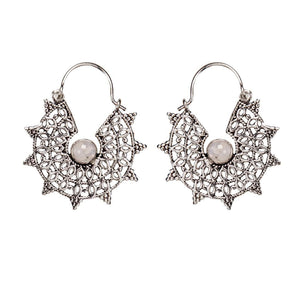 Silver Brass Filigree Moonstone Gemstone Dangle Earrings