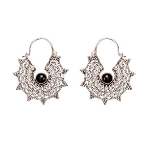 Load image into Gallery viewer, Silver Brass Filigree Onyx Gemstone Dangle Earrings