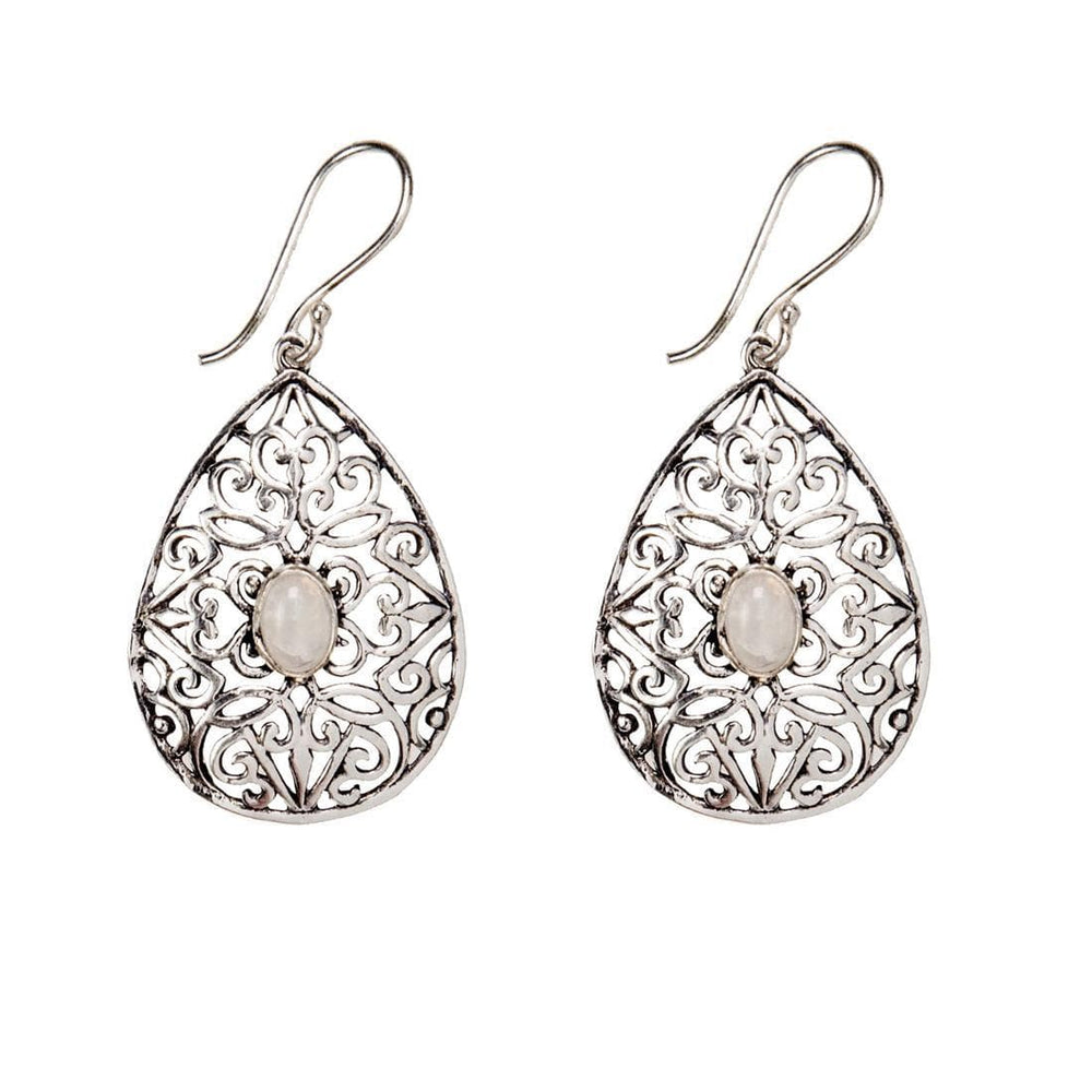 Silver Brass Filigree Teardrop Moonstone Gemstone Dangle Earrings