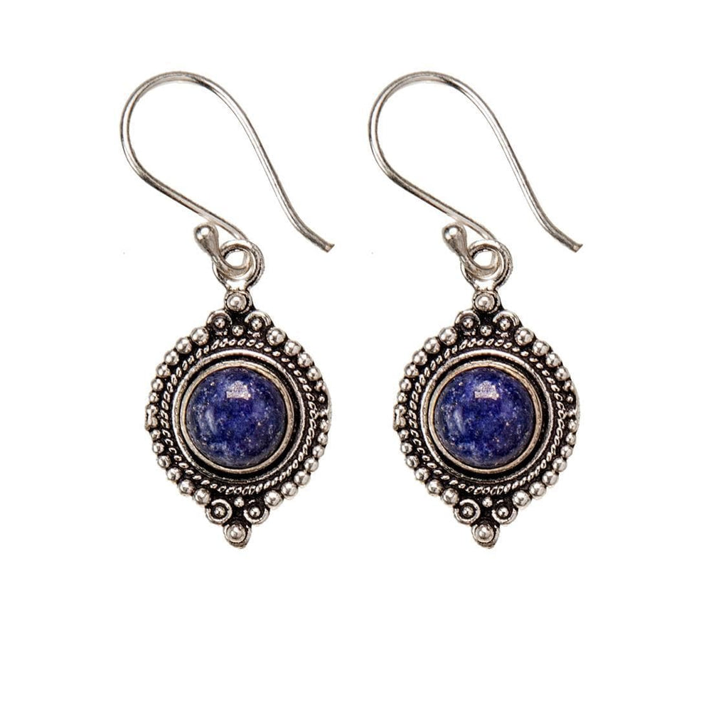 Load image into Gallery viewer, Silver Brass Round Lapis Lazuli Gemstone Earrings
